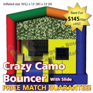 Kingston Bouncy Castle Rentals - Separate Castles 2014 - Crazy Camo Bouncer With Slide1