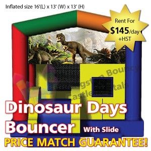 Kingston Bouncy Castle Rentals - Separate Castles 2014 - Dinosaur Days Bouncer With Slide
