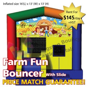 Kingston Bouncy Castle Rentals - Separate Castles 2014 - Farm Fun Bouncer With Slide1